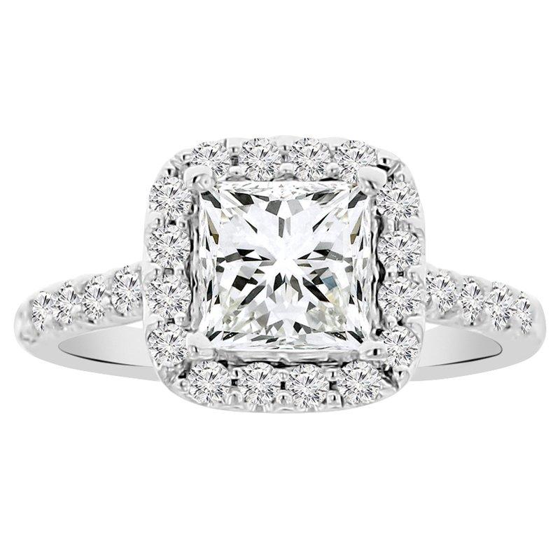 2 1/8ct tw NewBorn Lab Created Diamond Halo Engagement Ring in 14K White Gold
