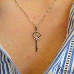 .01ct tw Diamond Fleur De Lis Key Necklace in Sterling Silver
