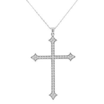 3/4ct tw Diamond Cross Necklace in 14K White Gold