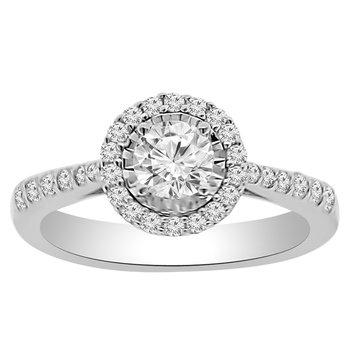 9/10ct tw Diamond Halo Fashion Ring in 14K White Gold