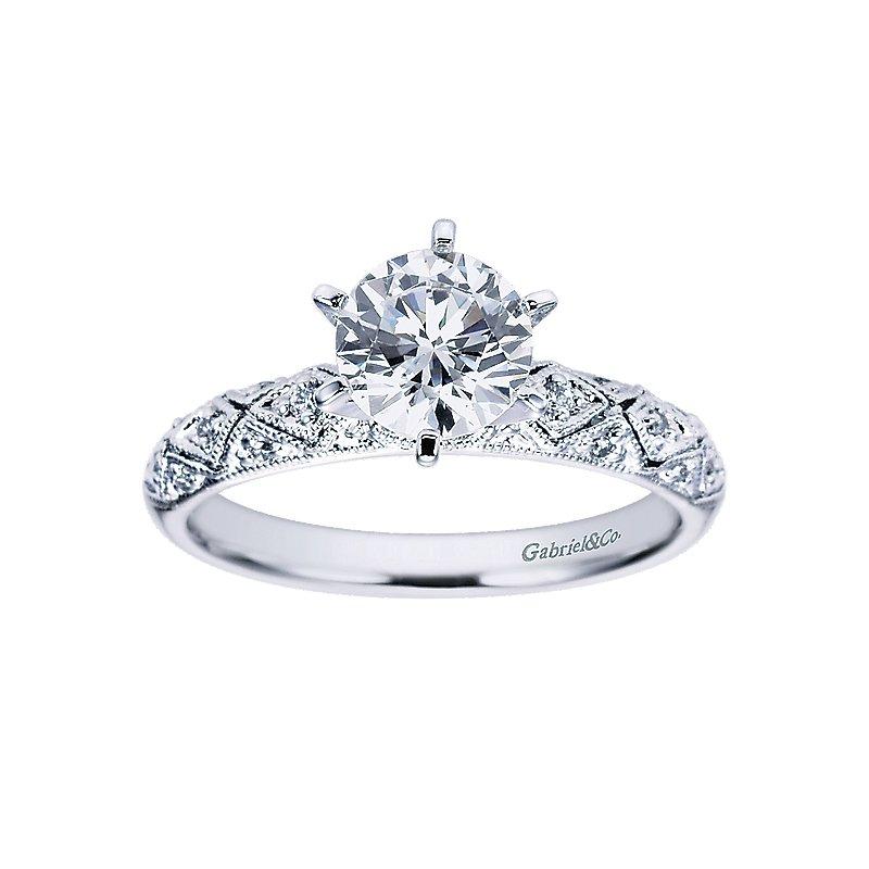 1/14ct tw Diamond Engagement Ring Setting in 14K White Gold