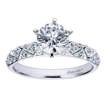 1/14ct tw Diamond Engagement Ring Setting in 14K White Gold
