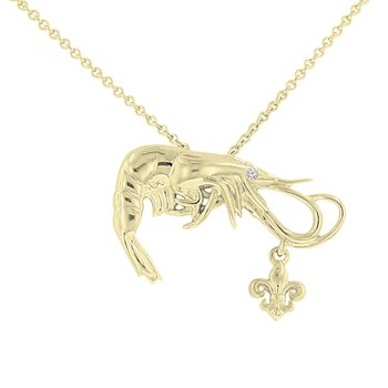 .005ct tw Diamond Nola Collection Shrimp & Fleur De Lis Necklace in 10K Yellow Gold