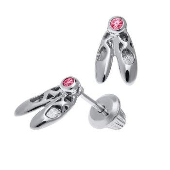 Ballet Slipper Earrings in Sterling Silver