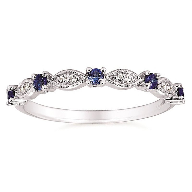 .04ct tw Diamond & Blue Sapphire Stackable Ring in 14K White Gold