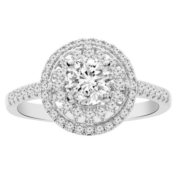 7/8ct tw Diamond Halo Engagement Ring in 18K White Gold