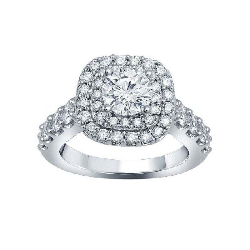 1ct tw Diamond Halo WOW Engagement Ring Setting in 14K White Gold