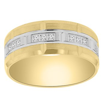 1/4ct tw Diamond Wedding Ring in 14K White & Yellow Gold