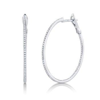 3/8ct tw Diamond Hoop Earrings in 14K White Gold