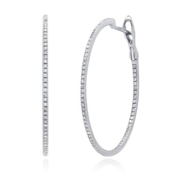3/8ct tw Diamond Hoop Earrings in 14K White Gold