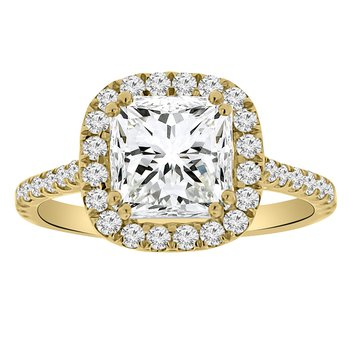 1/2ct tw Diamond Halo Engagement Ring Setting in 14K Yellow Gold