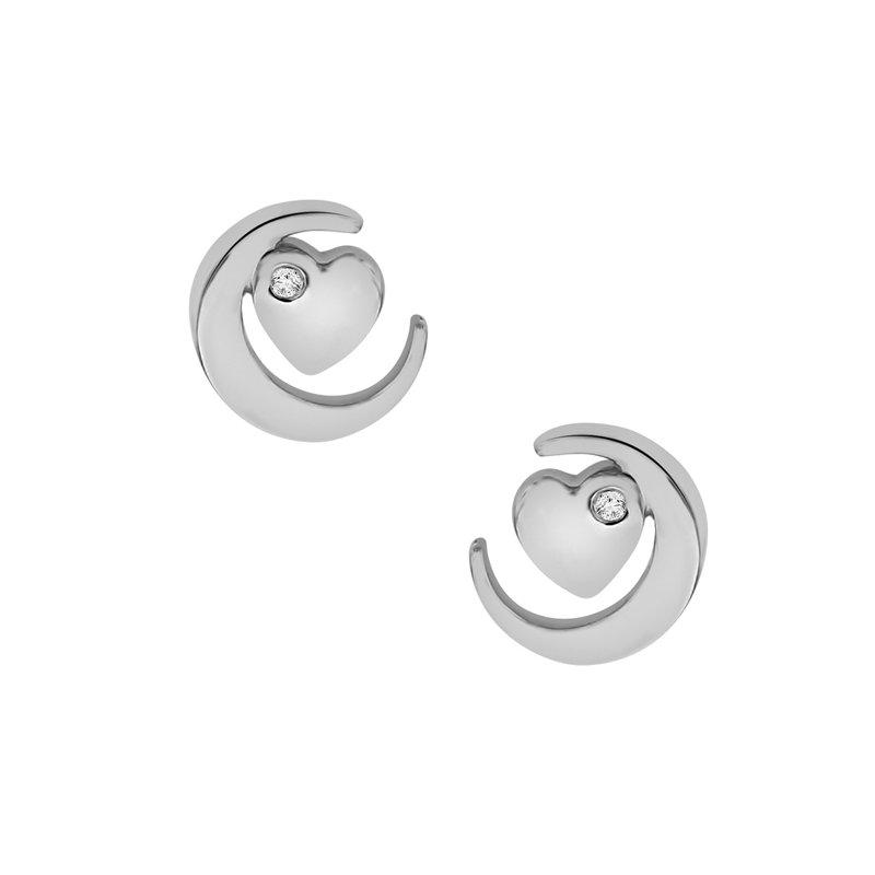 .02ct tw Diamond Moon & Back Earrings in Sterling Silver