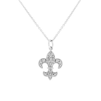 1/14ct tw NewBorn Lab Created Diamond Fleur De Lis Necklace in 14K White Gold
