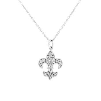 1/14ct tw NewBorn Lab Created Diamond Fleur De Lis Necklace in 14K White Gold