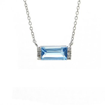 .03ct tw Diamond & Blue Topaz Bar Necklace in 14K White Gold