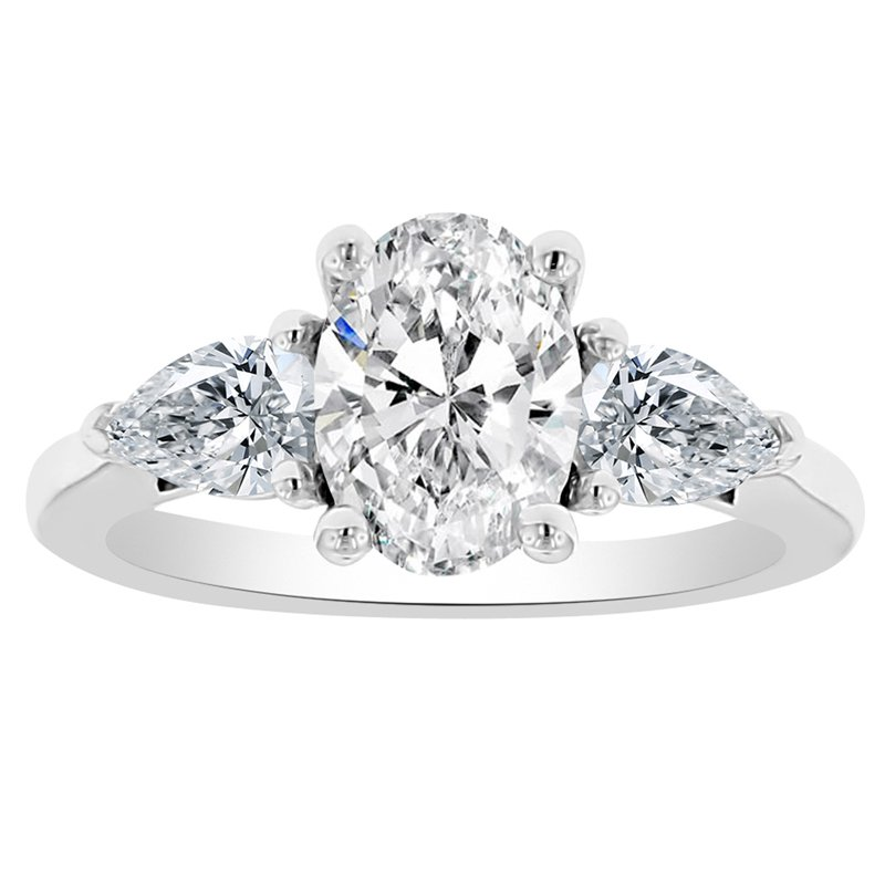 2ct tw Newborn Lab  Created Diamond Three Stone Engagement Ring in 14K White Gold