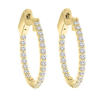 1/2ct tw Diamond Hoop Earrings in 14K Yellow Gold