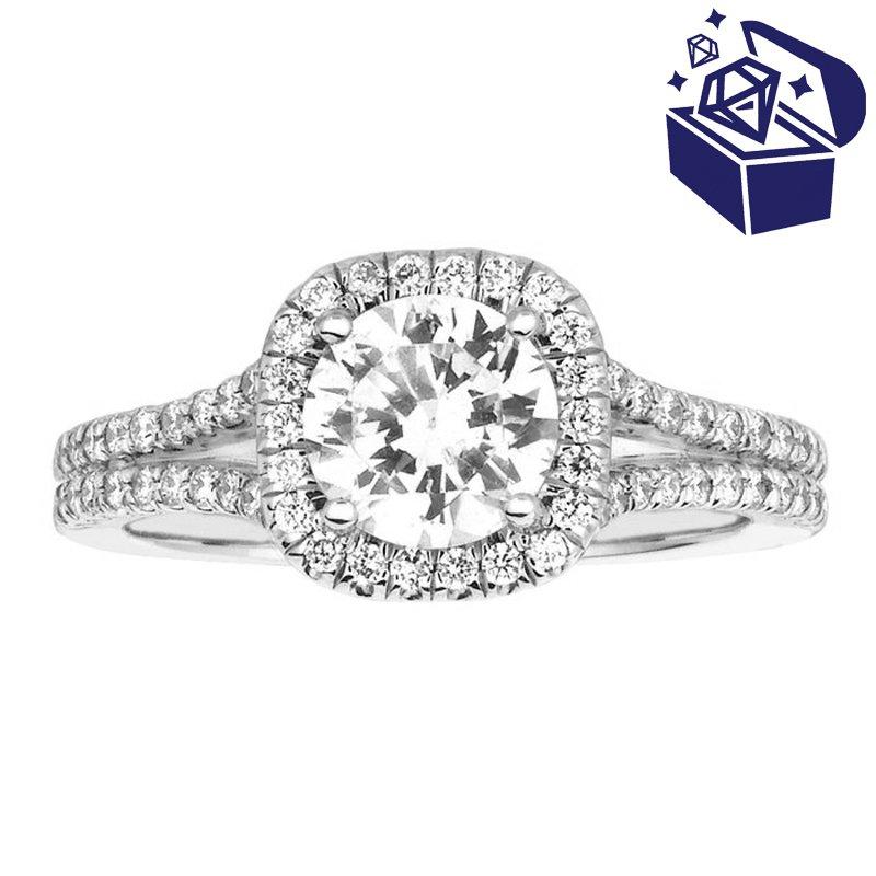 Treasure Hunt Value 3/8ct tw Diamond Halo Engagement Ring Setting in 14K White Gold