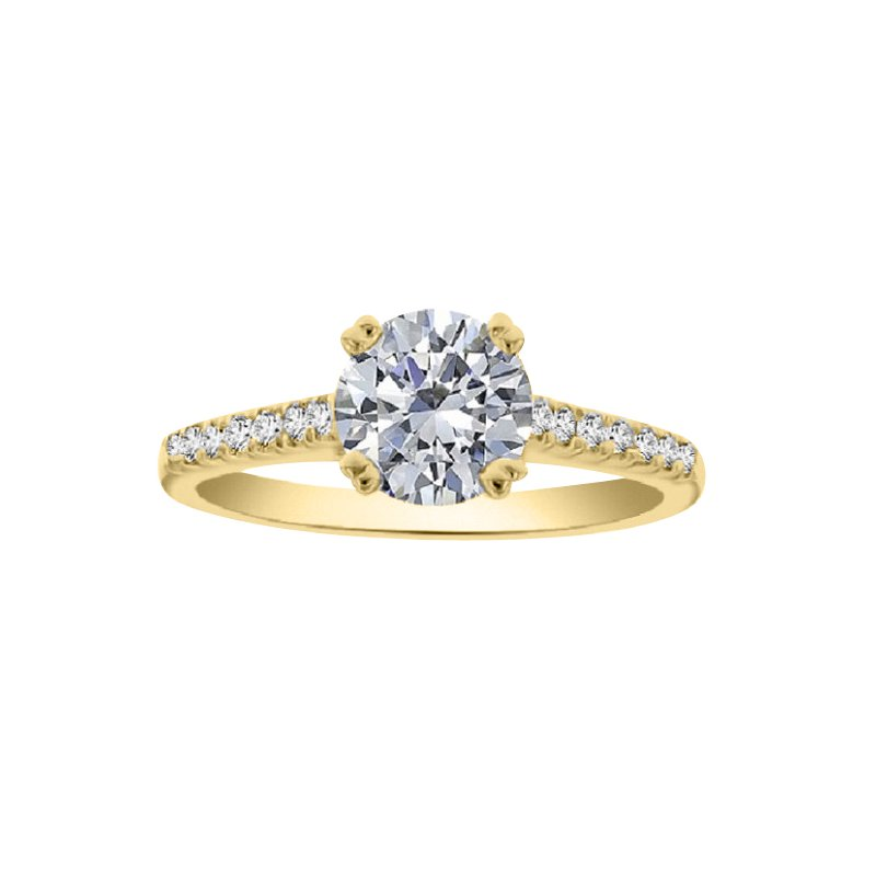 1/8ct tw Diamond Engagement Ring Setting in 18K Yellow Gold