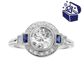 Treasure Hunt Value 1/4ct tw Diamond & Blue Sapphire Halo Engagement Ring Setting in 14K White Gold