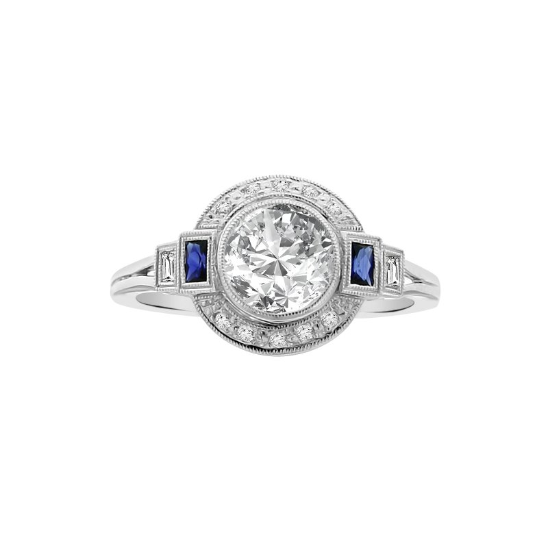 1/4ct tw Diamond & Blue Sapphire Halo Engagement Ring Setting in 14K White Gold
