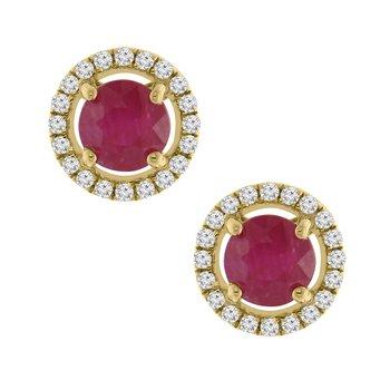 1ct tw Diamond & Ruby Halo Earrings in 14K Rose Gold