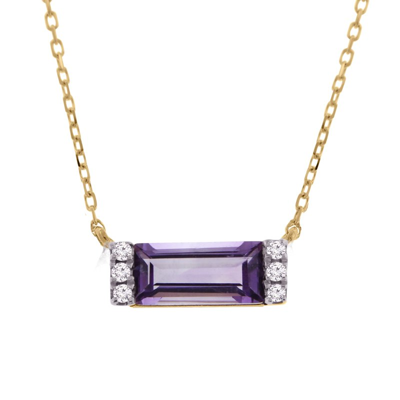 .03ct tw Diamond & Amethyst Bar necklace in 14K Yellow Gold