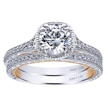 1 1/4ct tw Diamond Engagment Ring in 18K White & Rose Gold