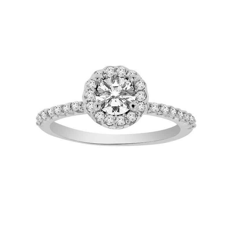 1/3ct tw NewBorn Lab Created Diamond Halo Engagement Ring Setting in 14K White Gold