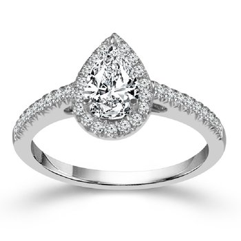 1 1/8ct tw NewBorn Lab Created Diamond Halo Engagement Ring in 14K White Gold