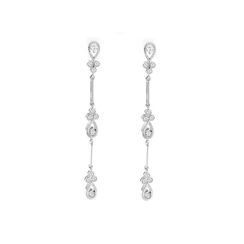 5/8ct tw Diamond Dangle Earrings in 14K White Gold