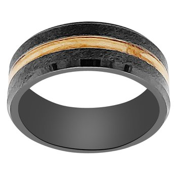 8mm Wedding Ring in Black Ceramic with Scotch Malt Barrel Inlay