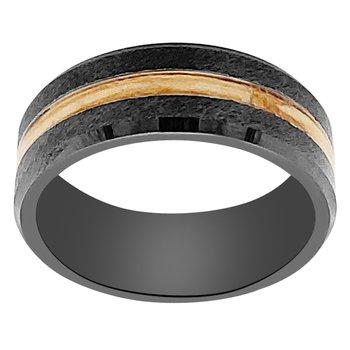 8mm Wedding Ring in Black Ceramic with Scotch Malt Barrel Inlay