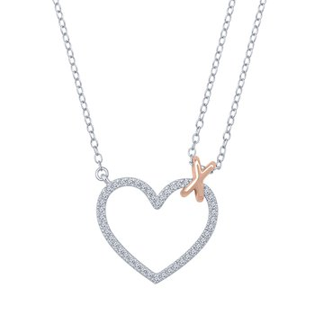 1/5ct tw Diamond Heart Necklace in Sterling Silver and 10K Rose Gold