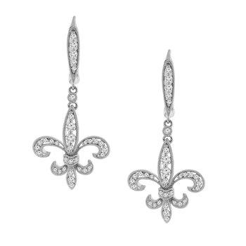 1/2ct tw Diamond Fleur De Lis Earrings in 14K White Gold