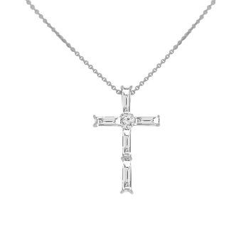 7/8ct tw Diamond Cross Necklace in 18K White Gold
