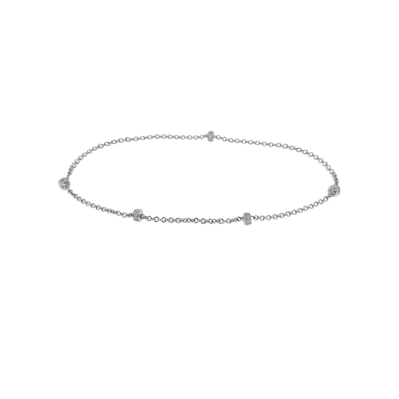 1/14ct tw Diamond Fashion Anklet in Sterling Silver