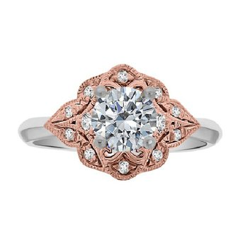 3/4ct tw Diamond Halo Engagement Ring in 14K White & Rose Gold