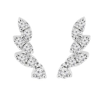 1/4ct tw Diamond Ear Climber Earrings in 14K White Gold
