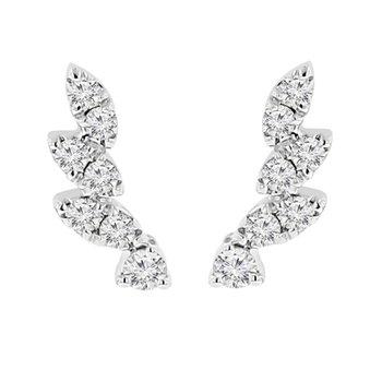 1/4ct tw Diamond Ear Climber Earrings in 14K White Gold