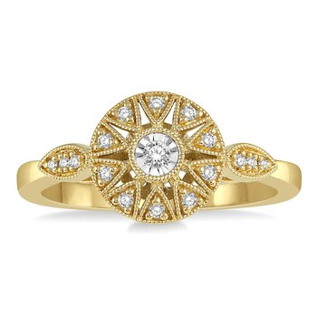 1/8ct tw Diamond Sun Ring in 10K Yellow Gold