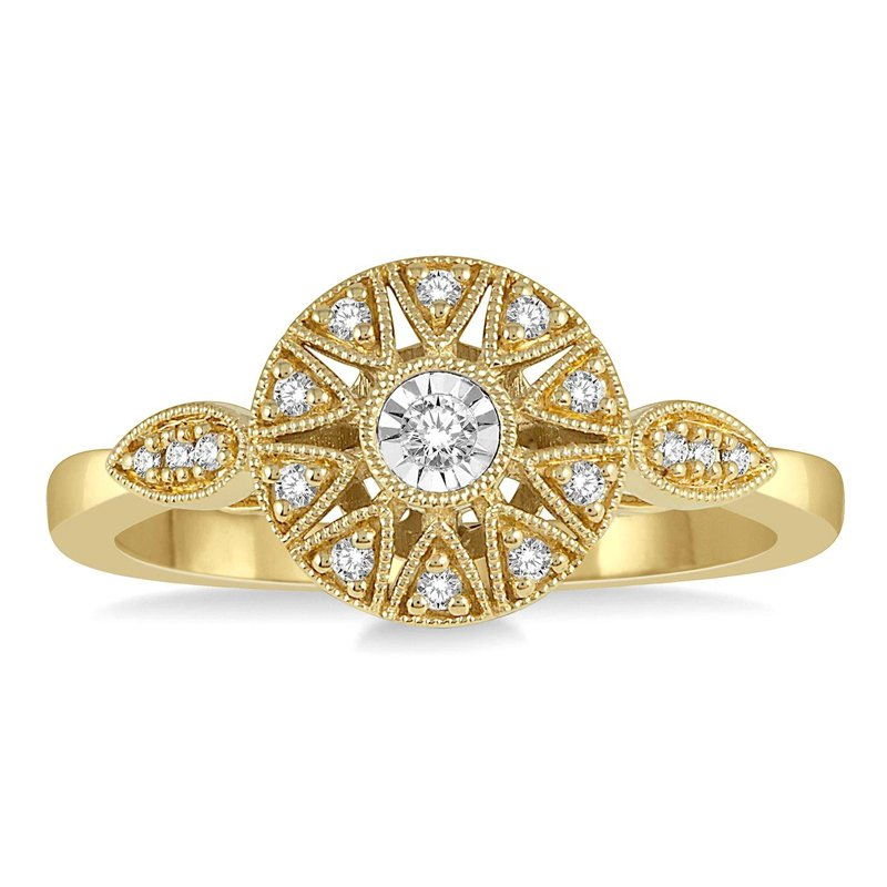 1/8ct tw Diamond Sun Ring in 10K Yellow Gold