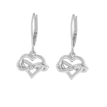 .04ct tw Diamond Infinity Heart Earrings in Sterling Silver