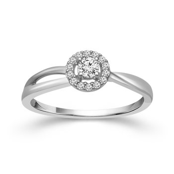 1/6ct tw Diamond Halo Promise Ring in Sterling Silver