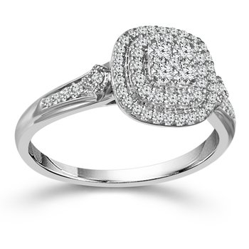 3/8ct tw Diamond Thousand Points of Light Engagement Ring in 10K White Gold