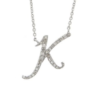 1/8ct tw Diamond Initial Necklace in 14K White Gold