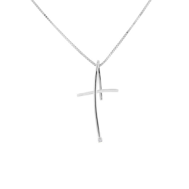 .01ct tw Diamond Cross Necklace in 14K White Gold