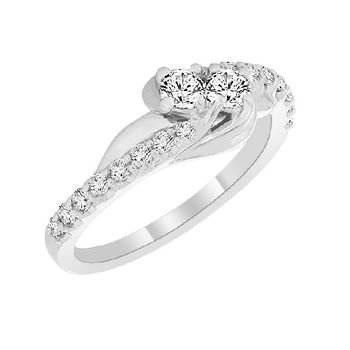 1/2ct tw Diamond Me & You Two Stone Ring in Sterling silver and Platinum