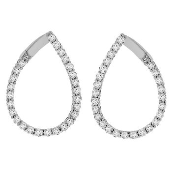 2 1/3ct tw Diamond Hoop Earrings in 14K White Gold