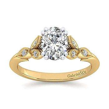 1/14ct tw Diamond Engagement Ring Setting in 14K White & Yellow Gold